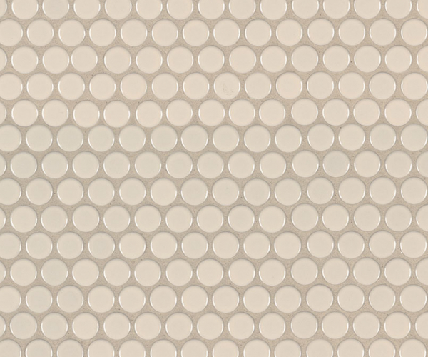 Almond Glossy Penny Round Mosaic