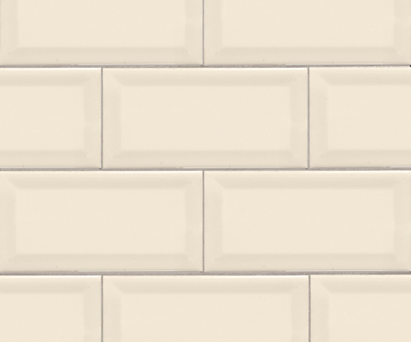 Almond Glossy Subway Tile Beveled 3x6